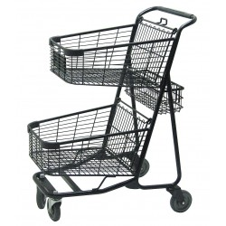 Other - RWR-VER-5050BK - 29L x 22-1/4W x 41-1/4H 2-Tier Shopping Cart, 300 lb. Load Capacity
