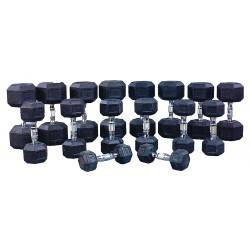 ProMaxima - HEXR1 - Dumbbell Set, Black; Weight: (2) 5 lb., (2) 10 lb., (2) 15 lb., (2) 20 lb., (2) 25 lb., (2) 30 lb.,