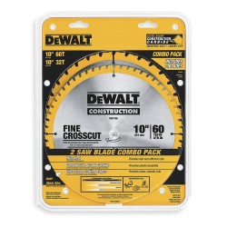 "Dewalt - DW3106P5 - 10"" Carbide Combination Circular Saw Blade, Number of Teeth: 32, 60, Package Quantity 2"