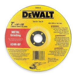 "Dewalt - DW8445 - 7"" x 1/4"" Depressed Center Wheel, Aluminum Oxide, 7/8"" Arbor Size, Type 28, High Performance"