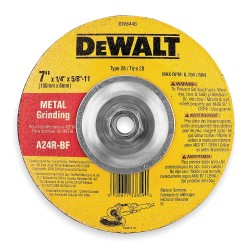 "Dewalt - DW8446 - 7"" x 1/4"" Depressed Center Wheel, Aluminum Oxide, 5/8""-11 Arbor Size, Type 28, High Performance AO"
