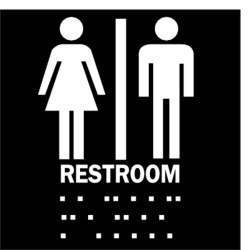 Brady - 70103 - Restroom Sign, 8 x 8In, WHT/BK, Restroom