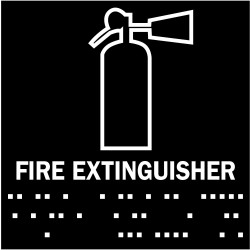 Fire extinguisher sign mounting height