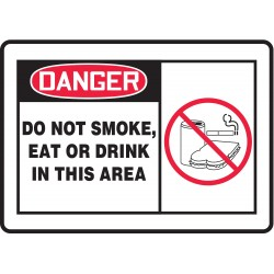 Accuform Signs - MSMK015VA - No Smoking, Danger, Aluminum, 10 x 14, With Mounting Holes, Not Retroreflective