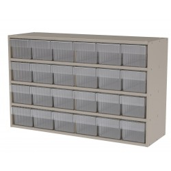 """Akro-Mils / Myers Industries - AD3511P62CRY - Drawer Bin Cabinet, 22"""" Overall Height, 35"""" Overall Width, Number of Drawers or Bins 24"""