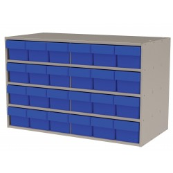 Akro-Mils / Myers Industries - AD3517P68BLU - Drawer Bin Cabinet, 22 Overall Height, 35 Overall Width, Number of Drawers or Bins 24