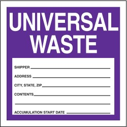 Accuform Signs - MHZW16EVL - Accuform Signs 6' X 6' Purple And White 2 mil Adhesive Poly Sheet Hazardous Waste Label 'UNIVERSAL WASTE SHIPPER ____ ADDRESS ____ CITY, STATE, ZIP _____ CONTENTS ____ ACCUMULATION START DATE ____' (250 Per
