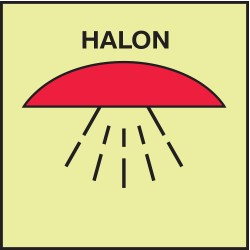 Accuform Signs - MLMR703GE - Fire Halon Sign, 6 x 6In, Halon, ENG, SURF