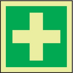 Accuform Signs - MLMR146GE - First Aid Sign, 6 x 6In, GRN/Glow WHT, SYM