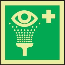 Accuform Signs - MLMR148GX - Eye Wash Sign, 6 x 6In, GRN/Glow WHT, SYM