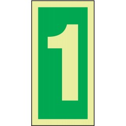 Accuform Signs - MLMR301GE - Number Sign, 6 x 3In, GRN/Glow WHT, 1, ENG