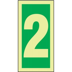 Accuform Signs - MLMR302GE - Number Sign, 2, Green/Glow White, 1 EA