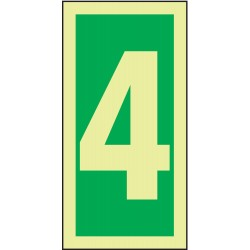 Accuform Signs - MLMR304GE - Number Sign, 4, Green/Glow White, 1 EA