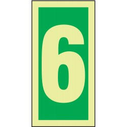 Accuform Signs - MLMR306GE - Number Sign, 6, Green/Glow White, 1 EA