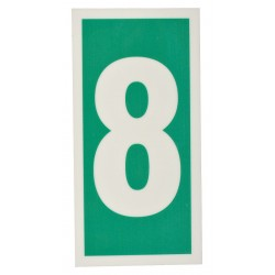 Accuform Signs - MLMR308GE - Number Sign, 6 x 3In, GRN/Glow WHT, 8, ENG