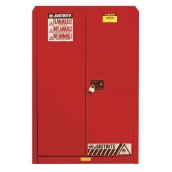 Justrite - 894531 - Justrite 60 Gallon Red Sure-Grip EX 18 Gauge Cold Rolled Steel Safety Cabinet With (2) Self-Closing Doors And (5) Shelves (For Combustibles)