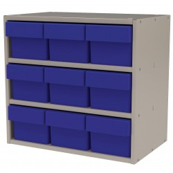 "Akro-Mils / Myers Industries - AD1811P62BLU - Drawer Bin Cabinet, 16-1/2"" Overall Height, 18"" Overall Width, Number of Drawers or Bins 9"