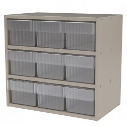 "Akro-Mils / Myers Industries - AD1811P62CRY - Drawer Bin Cabinet, 16-1/2"" Overall Height, 18"" Overall Width, Number of Drawers or Bins 9"