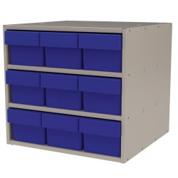 "Akro-Mils / Myers Industries - AD1817P68BLU - Drawer Bin Cabinet, 16-1/2"" Overall Height, 18"" Overall Width, Number of Drawers or Bins 9"