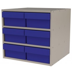 "Akro-Mils / Myers Industries - AD1817P88BLU - Drawer Bin Cabinet, 16-1/2"" Overall Height, 18"" Overall Width, Number of Drawers or Bins 6"