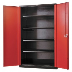 Hallowell - FK4SC6478-4BR-HT - Storage Cabinet, Black Body/Red Doors, 78 Overall Height, Assembled