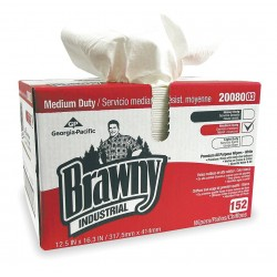 "Georgia Pacific - 20080/03 - Georgia-Pacific Brawny Industrial Premium All Purpose DRC Wiper - 16.70"" x 12.50"" - White - Soft, Absorbent - 152 Sheets Per Pack - 1 Pack"