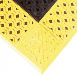 "Notrax - 520S3072BY - Drainage Mat, Black with Yellow Border, 6 ft. x 2 ft. 6"", PVC, 1 EA"