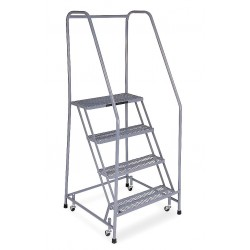 Cotterman - 1004R2630A2E10B3C1P6 - 4-Step Rolling Ladder, Antislip Vinyl Step Tread, 70 Overall Height, 450 lb. Load Capacity