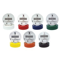 Power First - 7DX31 - White, Red, Blue, Green, Yellow, Orange, Black Flame Retardant Vinyl Electrical Tape Color Assorted