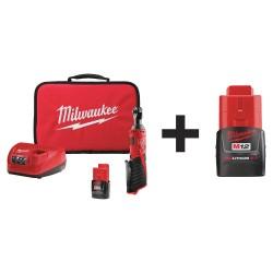 Milwaukee Electric Tool - 2456-21 48-11-2420 - Cordless Ratchet Kit, 12V, Li-Ion Battery