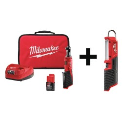 Milwaukee Electric Tool - 2457-21 2351-20 - Cordless Ratchet Kit, 3/8in., Stick Light