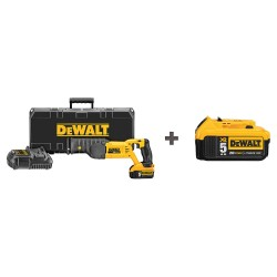 Dewalt - DCS380P1 DCB205 - Cordless Reciprocating Saw Kit, 20.0 Voltage, Pivoting Adjustable Shoe Design, Battery Included