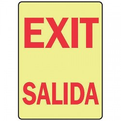 Accuform Signs - MLAD216GF - Exit Sign, 10 x 7In, R/WHT, Self-ADH, Text