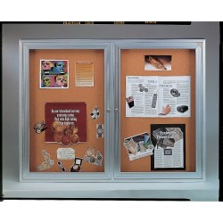 Ghent - PA33672K - Ghent 3-Door Enclosed Indoor Bulletin Board - 36 Height x 72 Width - Cork Surface - Shatter Resistant, Self-healing - Satin Aluminum Frame - 1 Each