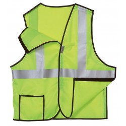 "Occunomix - LUX-SSBRP-YXL - OccuNomix X-Large Hi-Viz Yellow OccuLux Premium Light Weight Polyester Tricot Class 2 5-Point Break-Away Vest With Hook And Loop Closure And 3M Scotchlite 2"" Reflective Tape And 3 Pockets"