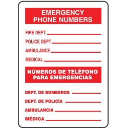 Accuform Signs - MSPS537VP - Emergency Sign, 14 x 10In, R/WHT, POL THN