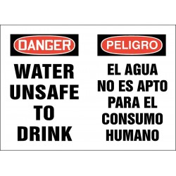 Accuform Signs - 219072-10X14P - Potable Water, Danger/Peligro, Plastic, 10 x 14, With Mounting Holes, Not Retroreflective