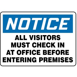 Accuform Signs - 219106-10X14P - Employees and Visitors, Notice, Plastic, 10 x 14, With Mounting Holes, Not Retroreflective
