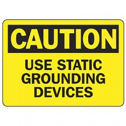 Accuform Signs - MELC654VS - Caution Sign Use Static Ground 7x10 Self Adhesive Ansi Z535.2 - 1998 Accuform Mfg Inc, Ea