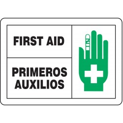 Accuform Signs - SBMFSD594MVP - Info Sign First Aid Bilgn 7x10 Plastic 29 Cfr 1910.145 Accuform Mfg Inc, Ea