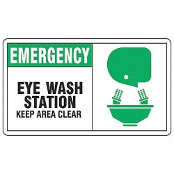 Accuform Signs - MFSD928VA - Accuform Signs 7' X 10' Black, Green And White 0.040' Aluminum First Aid Sign 'EMERGENCY EYE WASH STATION KEEP AREA CLEAR (With Graphic)' With Round Corner, ( Each )