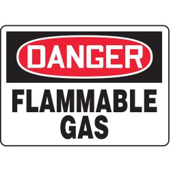 Accuform Signs - MCHL152VS - Accuform Signs 7' X 10' Black, Red And White 4 mils Adhesive Vinyl Chemicals And Hazardous Materials Sign 'DANGER FLAMMABLE GAS', ( Each )