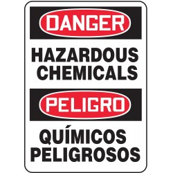 Accuform Signs - SBMCHL092VA - Danger Sign Hazardous Chemical Bilingual 14x10 Aluminum 29 Cfr 1910.145 Accuform Mfg Inc, Ea