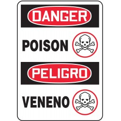 Accuform Signs - MSPD41VA - Danger Sign Poison Bilingual 14x10 Aluminum 29 Cfr 1910.145 Accuform Mfg Inc, Ea