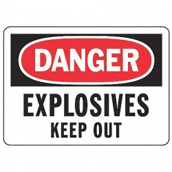 Accuform Signs - MCHL082VA - Danger Sign Explosives 7x10 Aluminum Regusafe Ansiz535.2-1998 Accuform Mfg Inc, Ea