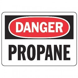 "Accuform Signs - MCHL083VP - Accuform Signs 7"" X 10"" Black, Red And White 0.055"" Plastic Chemicals And Hazardous Materials Sign ""DANGER PROPANE"" With 3/16"" Mounting Hole And Round Corner"