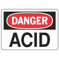 Accuform Signs - MCHL189VP - Danger Sign Acid 7x10 Plastic Regusafe Ansi Z535.2-1998 Accuform Mfg Inc, Ea