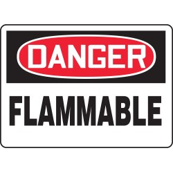Accuform Signs - MCHL231VA - Accuform Signs 10' X 14' Black, Red And White 0.040' Aluminum Chemicals And Hazardous Materials Sign 'DANGER FLAMMABLE' With Round Corner, ( Each )