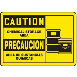 Accuform Signs - SBMCHG053MVP - Caution Sign Chemical Storage Area Bilingual 7x10 Plastic 29 Cfr 1910.145 Accuform Mfg Inc, Ea
