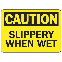 Accuform Signs - MSTF642VA - Accuform Signs 10' X 14' Black And Yellow 0.040' Aluminum Fall Arrest Sign 'CAUTION SLIPPERY WHEN WET' With Round Corner, ( Each )